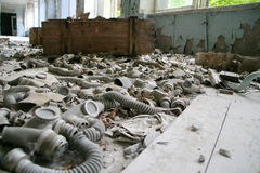 Abandoned gas masks Stock Images