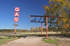 Abandoned Gas Station. Ruins along Highway Stock Photo