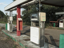Abandoned Gas Station close. Abandoned gas station with a close-up of the fuel pumps Royalty Free Stock Photo