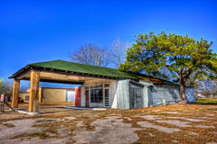 Abandoned Gas Station Ellinger, Texas. Abandoned green roof gas station photographed on the Back Roads of Texas near Ellinger royalty free stock images