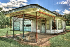 Abandoned Gas Station Moulton Texas. Abandoned two bay garage gas station photographed in Moulton Texas on the Back Roads of Texas stock photos