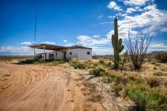 Abandoned gas station in ruins in the Arizona desert stock image