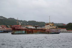 An abandoned general cargo ship `Anina` built 1970 and left to rust in the Bay of St. George`s Grenada Royalty Free Stock Photography