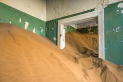Abandoned ghost town of Kolmanskop in Namibia.  Royalty Free Stock Photos