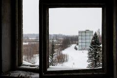 Abandoned ghost town Skrunda - 1. Ghost town and former Soviet radar station located 5 km (3 mi) to the north of Skrunda, in Ranki parish, Latvia Stock Photos