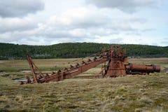 Abandoned gold mine at lake Lago Blanco. Royalty Free Stock Image