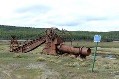 Abandoned gold mine at lake Lago Blanco. Stock Images