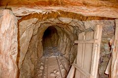 Abandoned Gold Mine in the Mojave Desert royalty free stock images
