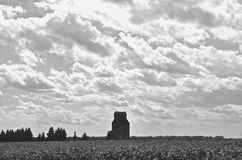 Abandoned grain elevator in field (black and white) Royalty Free Stock Images
