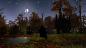 Abandoned graveyard at moonlight night. Abandoned graveyard with decaying tombstones and old chapel in a scary autumn forest under starry night sky with full Stock Image