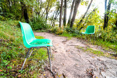 Abandoned Green Chairs Royalty Free Stock Photography