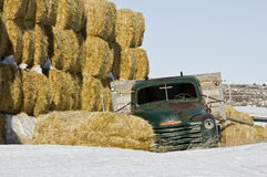 Abandoned Green Farm Truck with hay Stock Photos