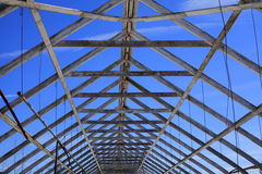 Abandoned greenhouse trussed rafter roof Royalty Free Stock Photos