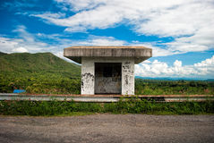 Abandoned guardhouse. In the dam Stock Image