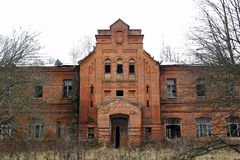Abandoned Gurievskaya agricultural school, Russia. Abandoned Gurievskaya agricultural school. The building of the late 19th century. Village of Solovjinye Zori royalty free stock photography