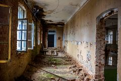 Abandoned Gurievskaya agricultural school, Russia. Abandoned Gurievskaya agricultural school. The building of the late 19th century. Village of Solovjinye Zori stock image