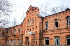 Abandoned Gurievskaya agricultural school, Russia. Abandoned Gurievskaya agricultural school. The building of the late 19th century. Village of Solovjinye Zori royalty free stock photos