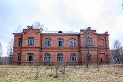 Abandoned Gurievskaya agricultural school, Russia. Abandoned Gurievskaya agricultural school. The building of the late 19th century. Village of Solovjinye Zori royalty free stock images