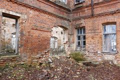 Abandoned Gurievskaya agricultural school, Russia. Abandoned Gurievskaya agricultural school. The building of the late 19th century. Village of Solovjinye Zori royalty free stock photo