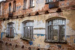 Abandoned Gurievskaya agricultural school, Russia. Abandoned Gurievskaya agricultural school. The building of the late 19th century. Village of Solovjinye Zori stock photo