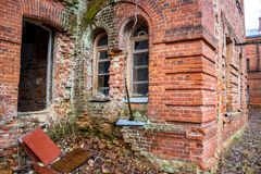 Abandoned Gurievskaya agricultural school, Russia. Abandoned Gurievskaya agricultural school. The building of the late 19th century. Village of Solovjinye Zori stock images