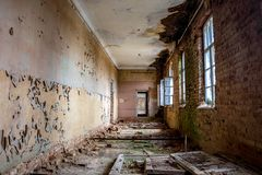 Abandoned Gurievskaya agricultural school, Russia. Abandoned Gurievskaya agricultural school. The building of the late 19th century. Village of Solovjinye Zori stock photography