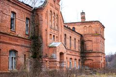 Abandoned Gurievskaya agricultural school, Russia. Abandoned Gurievskaya agricultural school. The building of the late 19th century. Village of Solovjinye Zori stock photos