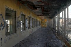 Abandoned hall with window Royalty Free Stock Images