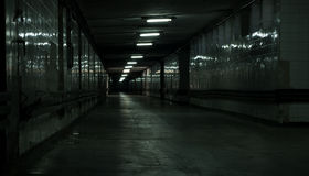 Abandoned hallway. Almost abandoned dark hallway. Dont know if still in use Royalty Free Stock Images