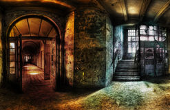 Abandoned Hallway Panorama stock images