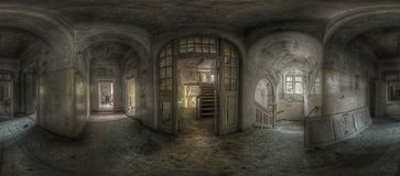 Abandoned hallway panorama stock photo