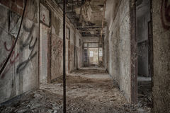Abandoned Hallway in Psychiatric Center Royalty Free Stock Images