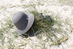 Abandoned hat and shoes Royalty Free Stock Image
