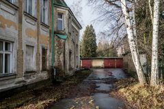 Abandoned haunted house in a late autumn in sunny weather Royalty Free Stock Photography