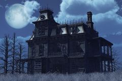 Abandoned Haunted House in Moonlight. An old abandoned, boarded up house sits surrounded by dry weeds on a moonlit night - 3D render Stock Images