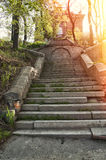 Abandoned haunting house. Old antique stone stairs to abandoned haunting house Royalty Free Stock Photography