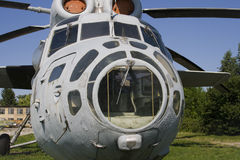 Abandoned helicopter. Cabin of old soviet helicopter Royalty Free Stock Photography