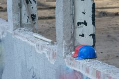 Abandoned helmets on construction Royalty Free Stock Photo