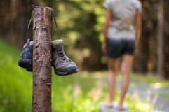 Abandoned hiking shoes Stock Image