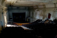 Abandoned Historic Theater, Pittsburgh, Pennsylvania. A inside an abandoned and historic theater in the South Side Slopes of Pittsburgh, Pennsylvania Stock Image