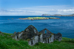 Abandoned home on Great Blasket Island. Abandoned cottages that were the village on Great Blasket Island, County Kerry, extreme western Ireland stock photo