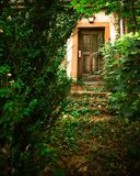 Abandoned home with overgrown path leading to front door stock photos