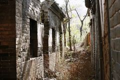 Abandoned homes in old village royalty free stock photography