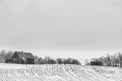 Abandoned homestead. An old house and grain bin on winter farmland Stock Photo