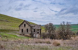 Abandoned Homestead with a Stone Foundation. An abandoned homestead house sits along a creek surrounded by wheat fields stock photo