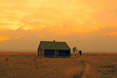 Abandoned homestead in Wyoming. Royalty Free Stock Images