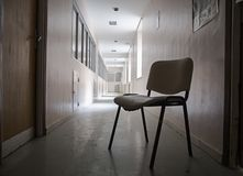Abandoned hospital. Detail of an old hospital, abandonment and ruin, health and medicine royalty free stock photography