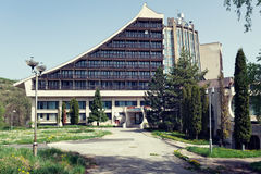 Abandoned hotel in a former yugoslavian ski resort. Brezovica, Kosovo - May 6, 2015 : Abandoned communist era Hotel Narcis in a Serbian enclave of southern Royalty Free Stock Photos