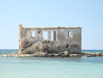 Abandoned house. An old abandoned and ruined house that is surrounded by the sea royalty free stock photography