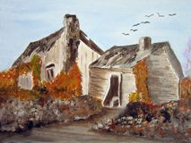 Abandoned house. Painting of an abandoned house Royalty Free Stock Images